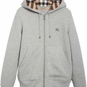 Burberry Nova  Pale Grey Melange Zip-front Cotton